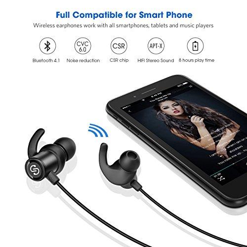 SoundPEATS Auriculares Bluetooth 4.1 Cascos inálambrico Deportivos  Resistente al Sudor IPX4   la máxima duración 8 horas para IOS Android PC Smartphones etc.  Q30 (Negro)