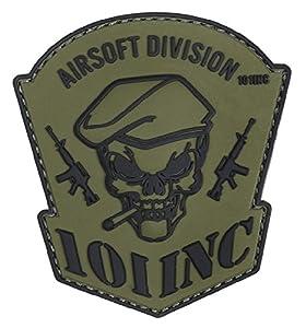 Patch Ecusson 3d Pvc Velcro Blason 101 Inc Airsfot Division Tete De Mort Crane Skull Beret Cigarette Vert Et Noir Kza-e-a-890 444130-5054 Airsoft