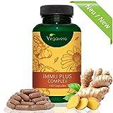 Integratore per il SISTEMA IMMUNITARIO Vegavero | FORMULA NATURALE con Acerola (Vitamina C), Echinacea, Zenzero, Vitamina D3, Zinco e Selenio | Contro Influenza e Affaticamento – Energizzante - Rafforza le Difese Naturali | SENZA ADDITIVI | 120 capsule – Dura 2 mesi | Vegan e Privo di Glutine