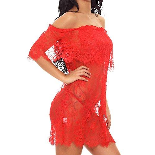Pageantry Nachthemd Damen Dessous Erotik Damen Set Sexy Dessous Aus Schulter Babydoll Spitze Kittel Chemises Mesh Transparentes Kleid Zwei Tragen Styles G-String Unterwäsche -