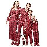 Loralirando Familie Schlafanzug Kariert Pyjama Weihnachten Baby Kinder Mama Papa Xmas Hausanzug Partnerlook (XL, Mama)