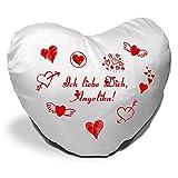 Herzkissen mit Namen Angelika und Motiv - Ich liebe Dich - zum Valentinstag - Herzkissen personalisiert Kuschelkissen Schmusekissen