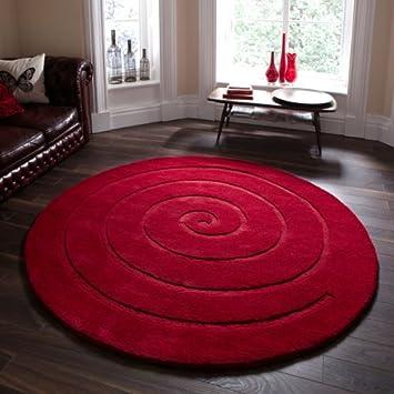 Teppich rund 180 cm  Teppich, Wolle, rund, Motiv Spirale, Rot büschelig 180cm x 180cm ...