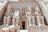 EdCott 5x3ft poliestere Egitto faraone tomba sullo sfondo piramide egizia tempio Abu Simbel quattro statue pietra giganti ramses vecchie rovine archeologia sfondo studio fotografico puntello no rughe