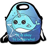 It Is Okay To Be Narwhal Waterproof Lunch Tote Bag Insulated Reusable Picnic Lunch Boxes For Men Women Kids