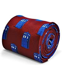 Frederick Thomas Burgundy tie with Doctor Who Tardis Phonebox design