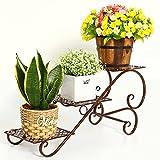 DGF Eisen-Kunst-Blumen-Zahnstange, Balkon-Wohnzimmer-Fußboden-drei Schichten-Blumen-Zahnstange, Betriebsanzeige-Blumentopf-Zahnstange (L58cm * W21cm * H27cm) Drei Farben ( Farbe : Kaffee - farbe )