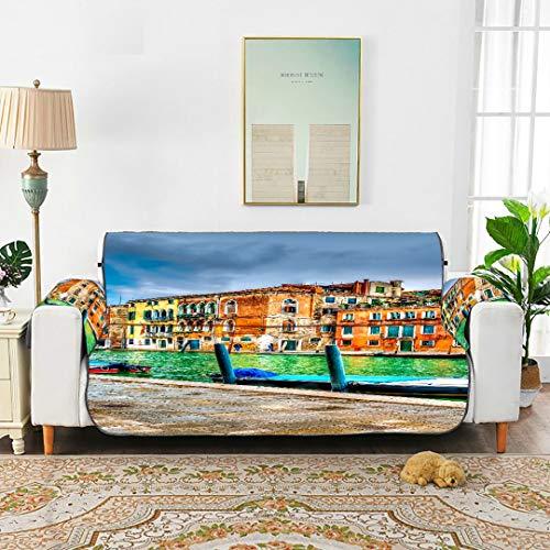 WDDHOME Schöne Aussicht Kanal Venedig Italien HDR Elstic Sofabezug Sofahaustierbezüge Für Möbel Stuhl Sofa Schonbezug 66