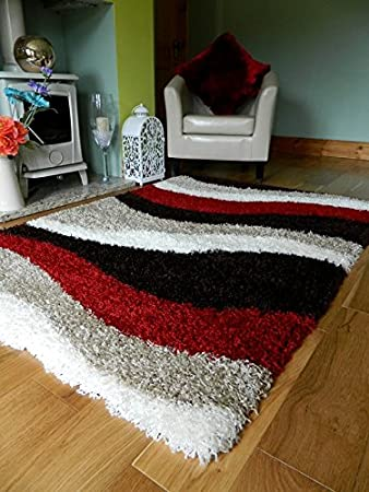 red brown cream shaggy rugs new small large thick 5cm pile height runners soft shag rug 120 x 170 cm amazoncouk kitchen u0026 home