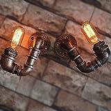 BAYCHEER Industrie Wandlampe Editon Beleuchtung Wandleuchte Steampunk Lampe Eisen Rohr Jahrgang E27 220-240V Küchenlampe Schlafzimmerlampe(2 Stücke)