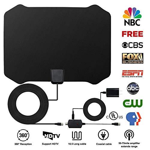 Upgrade TV Antenne, Indoor Amplified Digital HDTV Antenne 60+ Mile Reichweite mit 4K 1080P HD VHF UHF Freeview TV für Das Leben Lokale Kanäle Broadcast für Alle Arten von Smart Home Television