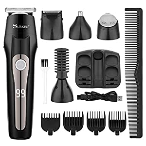 SURKER Haarschneider Haarschneidemaschine Herren Barttrimmer für Männer Haartrimmer Haarschneider Nasentrimmer Bodygroomer 5 In 1
