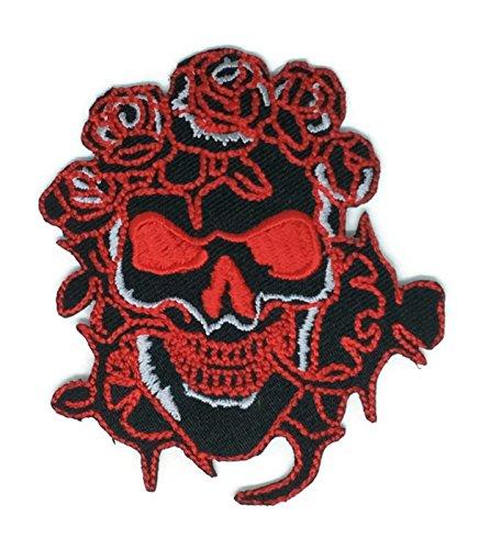 Rot Rose Totenkopf schwarz Cartoon Hippie Retro Biker Jacket T-shirt Vest Patch Sew Iron on gesticktes Badge Custom (Rote Gestickte Rosen)