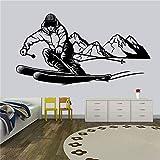 yaonuli Adesivo da Parete in Vinile Modello di Allenamento per Sci all'aperto per Uomo Camera da Letto murale Soggiorno Decorazione da Parete 45x76 cm
