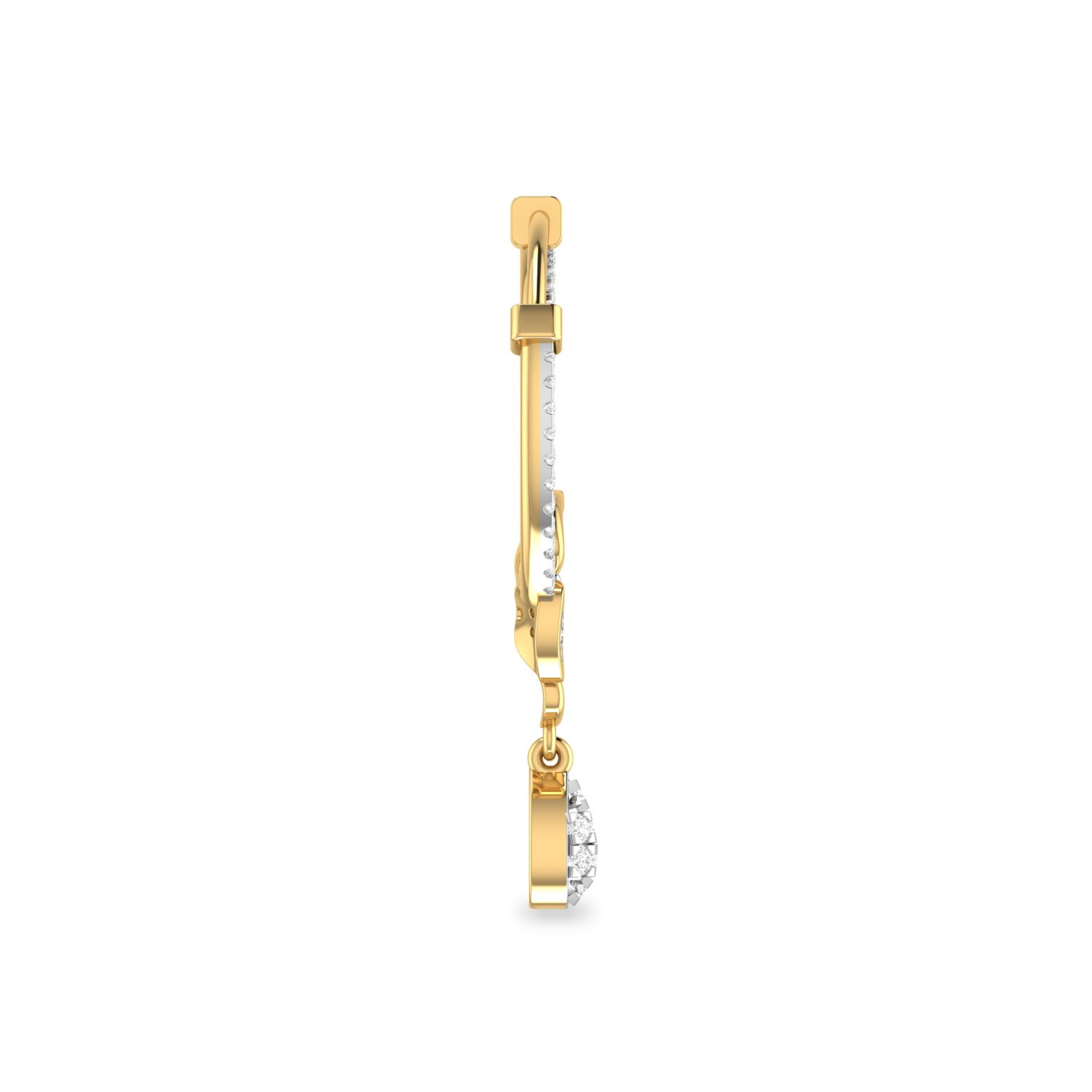 PC Jeweller The Grovert 18KT Yellow Gold and Diamond Nose Pin for Women