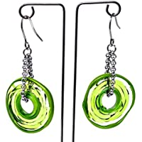 Genuine Murano glass earrings in green shades - directly from the artist | Stainless steel chain and hanger | Unique glass jewellery personalised | Elegant and handcrafted | Charming Birthday Gift | Wonderful Mother's Day gift for your wife, mother, mom or om