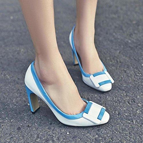 Lemon&T Cuir Vintage Style Printemps Eté Stiching couleur haut de gamme Patent Square-toe Women Rubber Sole Chunky Heels bowknot Chaussures blue