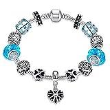 LDUDU Pulsera charms de mujer plateado de plata con charms de cristal de murano Azul marino y...