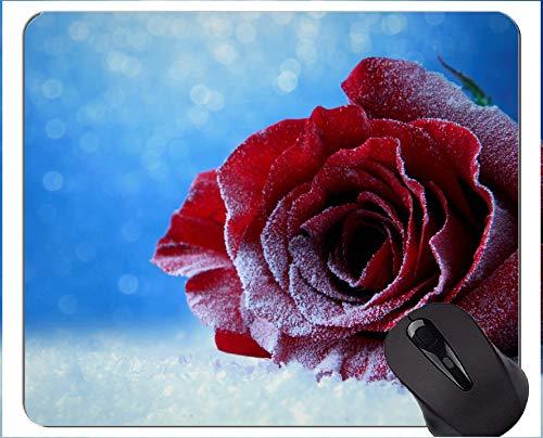 Gaming Mouse Mat, Schnee Eis defokussiert Rose - Genähte Kanten -