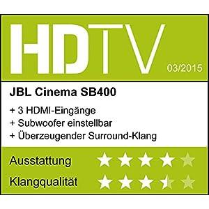 jbl cinema sb400 barre de son et caisson de basses sans fil bluetooth de 120w qualit. Black Bedroom Furniture Sets. Home Design Ideas
