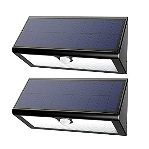46LED Solar Light Wall Security Light Wireless Motion Sensor Waterproof for Outdoor Indoor Ponds Patio Deck Yard Garden Home Driveway Stairs Lighting(4400mAh rechargeable lithium battery included) (Black, 2pack)