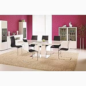 justyou table de salle manger lorenzo extensible blanc laqu haute brillance lxlxh 180 220