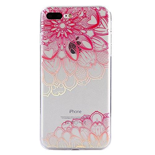 iPhone 7 Plus Hülle, Voguecase Silikon Schutzhülle / Case / Cover / Hülle / TPU Gel Skin für Apple iPhone 7 Plus/iPhone 8 Plus 5.5(Teppich 12) + Gratis Universal Eingabestift Rosa Durchstochen