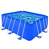 vidaXL Above Ground Swimming Pool Steel Rectangular 400x207x122cm Outdoor Spa