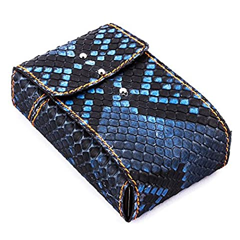 "Maroquinerie France - Etui luxe porte paquets de cigarettes taille standard cuir python bleu jean couture orange ""Made in France"""