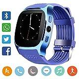 Smartwatch andriod ios, Uhr Fitness Watch Handy Armbanduhr Intelligente mit Fernbedienung Remote Kamera, Musikplayer, SIM/TF Card Slot Anti-Lost, Meldungen Anrufe SMS, Tracker Aktivitäten, T8, blau