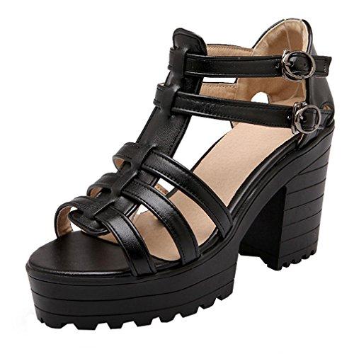 YE Damen Sommer Römersandalen Peep Toe Blockabsatz Knöchelriemchen High Heels Plateau mit Schnalle und 10cm Absatz Schuhe Weiß