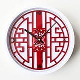ZWL Wanduhr Tisch Neoklassizistische 3D dreidimensionale antike Kunst Pane Wanduhr China Red Wanduhr Tisch 33 * 33cm fashion ( Farbe : #1 )