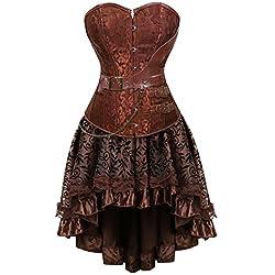 aizen Moda Cuero Corsé Vestidos Falda Corpiño Top Gothic Steampunk Estructura Corset Mujer Sexy Talla Grande Marrón S