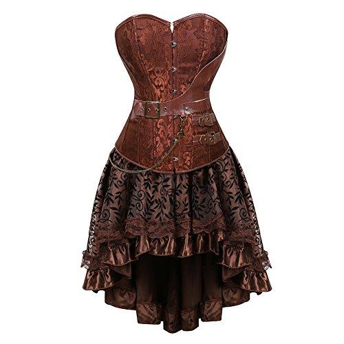aizen Damen Gothic Steampunk Schädel Korsett Kleid Spitze Kostüm Burlesque Vollbrust Corsagen Set Leder Retro Gothic Halloween Braun (Steampunk Kleid)