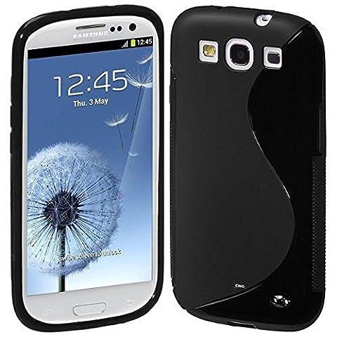 VCOMP® Housse Etui Coque souple silicone gel motif S-Line pour Samsung Galaxy S3 i9300/ i9305 Neo/ LTE 4G - NOIR