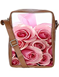 Snoogg Pink Flower Sling Bags Crossbody Backpack Chest Daypack Travel Bag Book Bag For Men&Women
