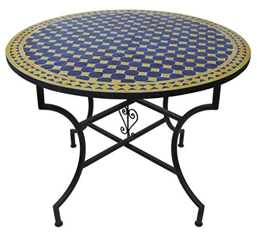 Saharashop Orientalischer Mosaiktisch Rund Ø 100 cm Blau-Gelb