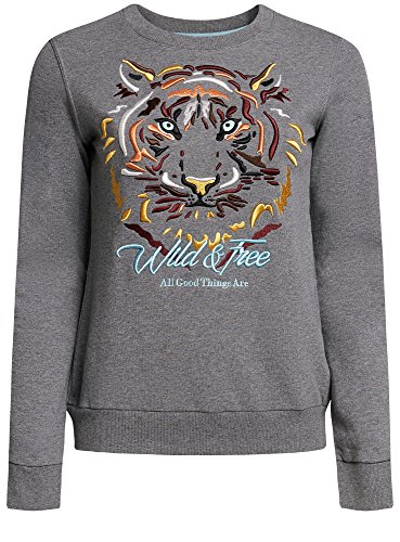 oodji Ultra Damen Sweatshirt mit Tiger-Stickerei Grau (2319Z)