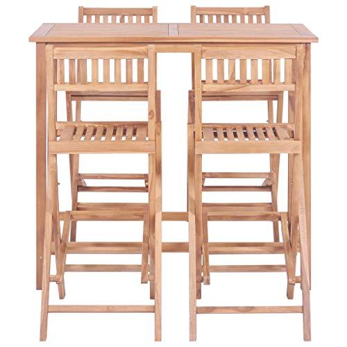 Tidyard- 5-teiliges Bar-Set Esstischstuhl Gesetzt, Bar Cafe Bar Theke Holz Stühle Kombination Teak Patio Bar Im Freien Teakholz Massiv Möbel Set - Teak Patio Möbel-sets