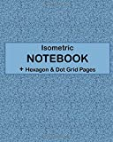 ISOMETRIC NOTEBOOK + Hexagon & Dot Grid Pages: 4 Types Of Designing Paper In One Book - See The Back Cover For Samples - Rich Textured Blue