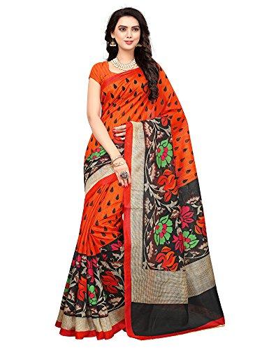 Mrinalika Fashion Art Silk Saree With Blouse Piece (_Orange_Free Size)