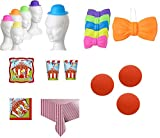IRPot - KIT TAVOLA CIRCUS PARTY + 6 CAPPELLINI FLUO + 6 PAPILLON + 6 NASI ROSSI CLOWN
