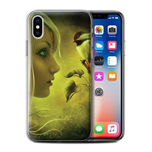 Officiel Elena Dudina Coque / Etui Gel TPU pour Apple iPhone X/10 / Plumes D'arc-en-Ciel Design / Les Oiseaux Collection Confiance