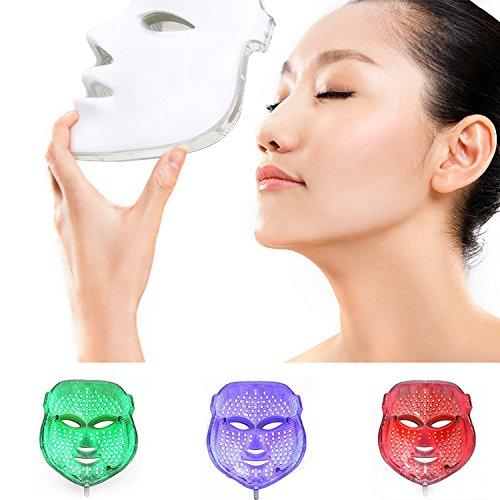 ZRYstore 3 Farben LED Maske Gold LED Licht Therapie treatment Gesicht Schönheit Skin Pflege Foto The (Foto-licht-therapie)