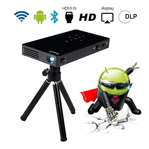 Proyector Android 7.0, 8GB DLP Proyector ExquizOn P8I, Video 1080P Full HD Mini Proyector Portátil Cine en Casa, Entrada de USB HDMI Tarjeta TF, Bluetooth WiFi 4500mAh Recargable Batería Incorporada para Uso al Aire Libre, Negro