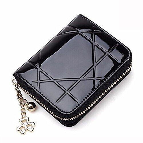 W. Air fashiat Leder Kupplung Reißverschluss Münze Tasche kurz Mini Frauen Geldbörse Kartenhalter (schwarz)