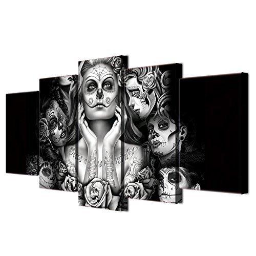 VIIVEI Halloween Tag der Toten Gesicht Totenkopf Frau abstrakte Malerei Schwarz und Weiß Art Prints für Wohnzimmer Art Wand Bild Geschenk Home Dekoration 5 Stück Leinwand Framed fertig zum Aufhängen