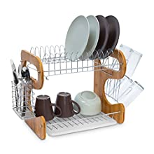 Relaxdays Draining 2 Levels Large Kitchen Rack Bamboo & Metal with Drip Tray and Cutlery Basket Dish Drainer Metal, Bamboo, Brown/Silver, 26.5 x 40 x 33.5 cm