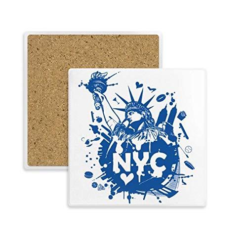 DIYthinker New York City USA von Liberty Square Coaster-Schalen-Becher-Halter Absorbent Stein für Getränke 2ST Geschenk Mehrfarbig -