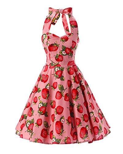 MISSMAO Vintage année 50's Rockabilly Floral Style Halter Rétro 1950's Audrey Hepburn Robe de Soirée cocktail Rose & Fraise
